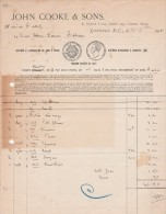 Facture 1915 JOHN COOK & SONS LONDRES - Royaume-Uni