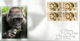 Lettre De Kampala.OUGANDA.(bloc De 4 Fleurs De Calabash Nutmeg) Illustration Tête De Gorille, Adressée En Afrique Du Sud - Gorilles