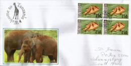 Lettre De Dar Es Salaam.TANZANIE.(bloc De 4 Poisson Empereur Rouge (illustration Bébé élephant ,adressée Afrique Du Sud - Elephants