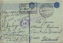FRANCHIGIA WWII POSTA MILITARE 1942 SPERLONGA X GALLARATE - Military Mail (PM)
