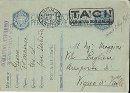 FRANCHIGIA WWII POSTA MILITARE 1941 COMANDO SUPREMO ROMA X VIGNA VALLE AEROPORTO - Posta Militare (PM)