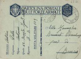 FRANCHIGIA WWII POSTA MILITARE 109 1941 PINEROLO X POZZOLENGO - 1900-44 Victor Emmanuel III