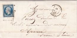 1855. LETTRE. N° 14 BELLES MARGES. YONNE JOIGNY PC 1577  / 6889 - Marcofilia (sobres)