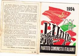 TESSERA PARTITO COMUNISTA ANNO 1954-OTTIMO STATO DI CONSERVAZIONE-VEDI OFFERTA SPECIALE IN SPESE DI SPEDIZIONE-2 SCAN- - Pubblicitari