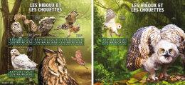 CENTRAL AFRICA 2015 ** Owls Eulen M/S+S/S - OFFICIAL ISSUE - A1602 - Eulenvögel