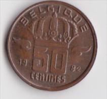 BELGIQUE BAUDOUIN  50 CENTIMES  BRONZE MONETAIRE TYPE MINEUR  ANNEE 1982 (française)  LOT N°183 - 03. 50 Centiem