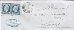 1855. N° 14 X 2. DEUXIÈME ECHELON . MAYENNE CHATEAU-GONTIER. PC 768 POUR LAVAL / 6901 - Postmark Collection (Covers)