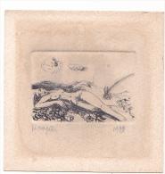 25557 Petite Gravure De Femme Nue, Signée Rougier Vincent « La Pomme Volage » Petite Gravure Cévenole-1979 - 40x55 Mm - Estampes & Gravures
