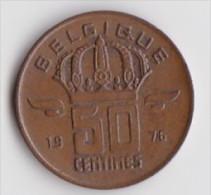 BELGIQUE BAUDOUIN  50 CENTIMES  BRONZE MONETAIRE TYPE MINEUR  ANNEE 1976 (française)  LOT N°186 - 03. 50 Centiem