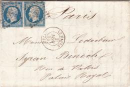 1855. N° 14 X 2. DEUXIÈME ÉCHELON . SEINE INFERIEURE LE HAVRE . PC 1495 POUR PARIS / 6906 - Postmark Collection (Covers)