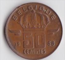 BELGIQUE BAUDOUIN  50 CENTIMES  BRONZE MONETAIRE TYPE MINEUR  ANNEE 1988 (française)  LOT N°188 - 03. 50 Centiem