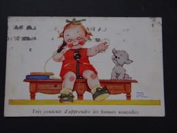 MABEL LUCIE ATTWELL - Très Contente D'apprendre De Bonnes Nouvelles - Enfant Chien - Cartes Humoristiques