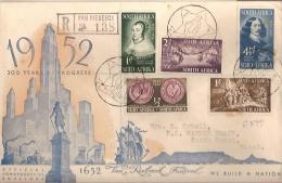 South Africa & FDC Circulado 300 Anos De Progresso, Van Riebeeck Festival 1652, Natal 1952(8) - Afrique Du Sud (...-1961)