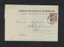 France Lettre 1877 Bordeaux Pour La Suisse - Poststempel (Briefe)