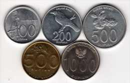 Indonésie : Lot De 5 Pièces : 100-200-500-500-1000 Rupiah 1999-2010 - Indonesia