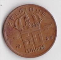 BELGIQUE BAUDOUIN  50 CENTIMES  BRONZE MONETAIRE TYPE MINEUR  ANNEE 1969 (française)  LOT N°232 - 03. 50 Centiem