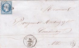 1855 LAS. N° 14 BELLES MARGES. CHER BOURGES PC 181 POUR COMMENTRY. BOITE RURALE B  / 6916 - 1849-1876: Période Classique