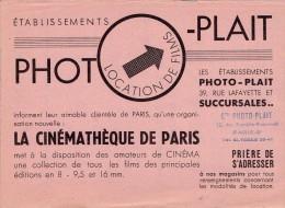Ancienne Publicité Photo Plait Cinémathèque De Paris (années 1950) - Publicités