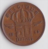 BELGIQUE BAUDOUIN  50 CENTIMES  BRONZE MONETAIRE TYPE MINEUR  ANNEE 1966 (française)  LOT N°237 - 03. 50 Centiem