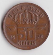 BELGIQUE BAUDOUIN  50 CENTIMES  BRONZE MONETAIRE TYPE MINEUR  ANNEE 1970 (française)  LOT N°238 - 03. 50 Centiem