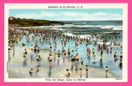 Republica De El Salvador - Playa Del Obispo - Puerto La Libertad - Animée - Foto SALAZAR - HELLEBUYCK - Colorisée - Salvador