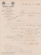 Lettre 27/1/1890 Maison Antonio Aguilar LA HAYE - Cognac - Pays-Bas