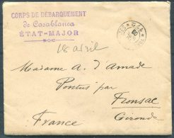 1908 Maroc Militaire Corps De Debarquement De Casablanca Etat-Major Cover (+ Letter) -  Fronsac, France - Morocco (1891-1956)
