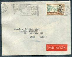 1954 A.O.F. Senegal Dakar Station Service Atlantique Advertising Slogan Airmail S.A.T. Cover - Societe Noveltor, Lyon - A.O.F. (1934-1959)