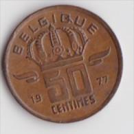 BELGIQUE BAUDOUIN  50 CENTIMES  BRONZE MONETAIRE TYPE MINEUR  ANNEE 1977 (française)  LOT N°239 - 03. 50 Centiem