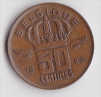 BELGIQUE BAUDOUIN  50 CENTIMES  BRONZE MONETAIRE TYPE MINEUR  ANNEE 1980 (française)  LOT N°242 - 03. 50 Centiem