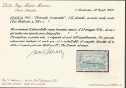 FRANCE 1935, Piroscafo NORMANDIE, 1,50 FRANCHI, GREEN Bleu Utilisé, CAT. UNIFIED. N ° 300a, CERTIFICAT, RARE - Francia