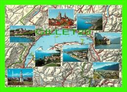 CARTE GÉOGRAPHIQUE - LAC LÉMAN - 8 MULTIVUES - EDITION PHOTOGLOB - - Cartes Géographiques