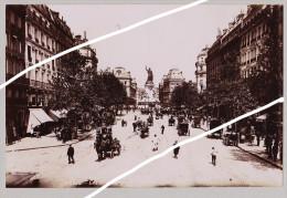 PARIS RUE DU TEMPLE / TOUR EFFEL TIRAGE UNIQUE DE 1890  FORMA 19,5 X 12 CM ENCORE AUCUNE VOITURES - Old (before 1900)
