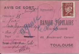 Rare Carte D'Avis De Sort  Pour La Banque Populaire De Toulouse Timbre Pétain 1.20f   De 1944 - Toulouse