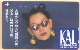 JAPAN Telefonkarte Airline Korean Airlines Frau  -*34* - Avions