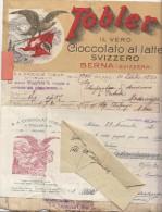 MILANO - FATTURA E ASSEGNO CIOCCOLATO SVIZZERO TOBLER - BERNA - 1920 - Milano (Milan)