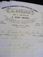 Facture De 1861 L. Guérin Fabrique De Chaudronnerie Poëlerie Ferblanterie Plomberie à St Brieuc    ... M1 - France