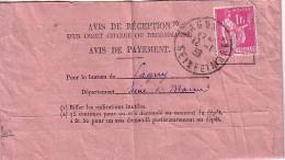 SEINE ET MARNE - LAGNY - TYPE PAIX - 1F ROSE SEUL SUR AVIS DE RECEPTION - LE 12-1-1939. - Postmark Collection (Covers)