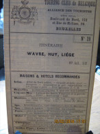 ITINERAIRE TCB N°29 WAVRE, HUY, LIEGE - Cartes