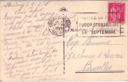 BAS-RHIN - STRASBOURG - TYPE PAIX 1F ROSE - SEUL SUR CARTE POSTALE POUR BRUXELLES BELGIQUE LE 9-8-1938. - Postmark Collection (Covers)