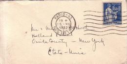 PARIS - 43 - RUE LITTRE - TYPE PAIX - 1F50 BLEU SEUL SUR LETTRE POUR LES ETATS-UNIS LE 15-12-1932. - Postmark Collection (Covers)