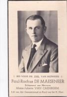 1912 1945 Paul De Maeseneer Van Caenegem Gemeenteraadslid St-Lievens-Essche Godveerdegem  Bidprentje Doodsprentje - Devotion Images