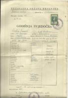 CROATIA, NDH, NEZAVISNA  DRZAVA HRVATSKA --  SCHOOL DIPLOMA, CERTIFICATE, GYMNASIA , 1943  -- TIMBRE FISCAL, TAX STAMP - Diplome Und Schulzeugnisse