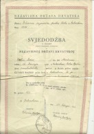 CROATIA, NDH, NEZAVISNA  DRZAVA HRVATSKA --  SCHOOL DIPLOMA, CERTIFICATE 1941  -- TIMBRE FISCAL, TAX STAMP - Diplome Und Schulzeugnisse