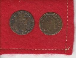Louis XV . Liard Buste Enfantin 1721  Reims  état Tb  + Un  Jeton Louis XVI - 987-1789 Royal