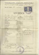 CROATIA, NDH, NEZAVISNA  DRZAVA HRVATSKA --  SCHOOL DIPLOMA, CERTIFICATE,  1945  -- TIMBRE FISCAL, TAX STAMP - Diplome Und Schulzeugnisse
