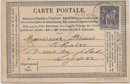 LBON11- CARTE POSTALE PRÉCURSEUR MOD. AVRIL 1878 REPIQUAGE COMMERCIAL VOYAGEE PARIS 20/2/1879 - Entiers Postaux