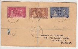 Registered FDC 1937 Coronation St Christopher & Nevis - St.Cristopher-Nevis & Anguilla (...-1980)