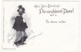 Affaire Zola-Esterhazy Dreyfuss Affair Antisemitism 'Veiled Lady' Image 'Au Rendez-vous' C1890s Vintage Postcard - Events