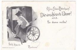 Affaire Zola-Esterhazy Dreyfuss Affair Antisemitism 'Veiled Lady' Image 'Rentrons!' C1890s Vintage Postcard - Events